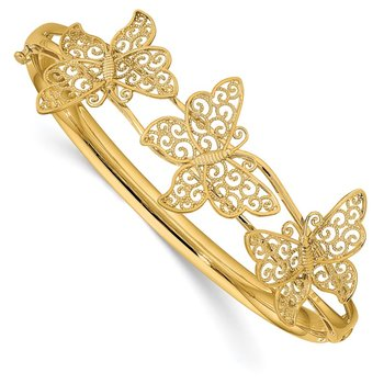 14K Filgree Butterfly Hinged Bangle Bracelet