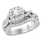 Bellissimo 14k White Gold Womens Round Diamond Bellissimo Bridal Wedding Twist Ring Band Set 1.00 Cttw (Certified)