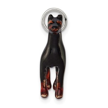 Sterling Silver Enameled Doberman Charm