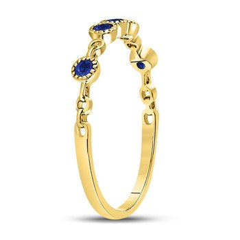 10kt Yellow Gold Womens Round Blue Sapphire Dot Stackable Band Ring 1/5 Cttw