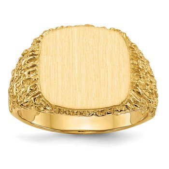 14k 13.5x13.5mm Open Back Men's Signet Ring