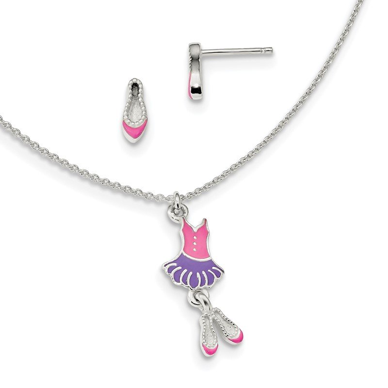 Quality Gold Sterling Silver Polished Enameled Ballerina 14in Necklace & Earring Set