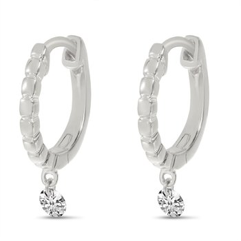 14K White Gold Textured Diamond Huggie Earrings