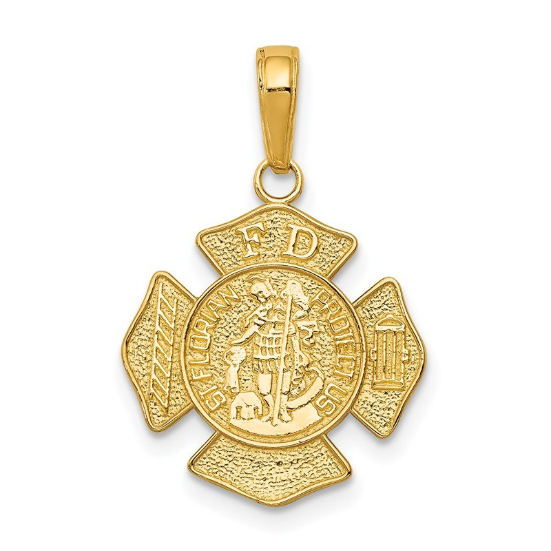 Quality Gold 14k Small St. Florian Badge Pendant