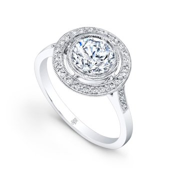 Vintage Halo Diamond Engagement Semi