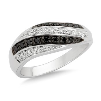 Pave set Black and White Diamond Fashion Ring in 14k White Gold, (1/4 ct.tw.)