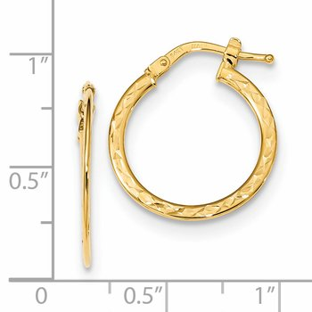 14k Gold D/C and Polished Hoop Earrings