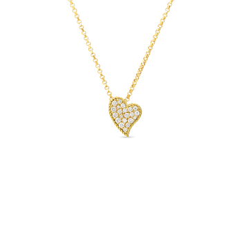 18Kt Gold Slanted Heart Pendant With Diamonds