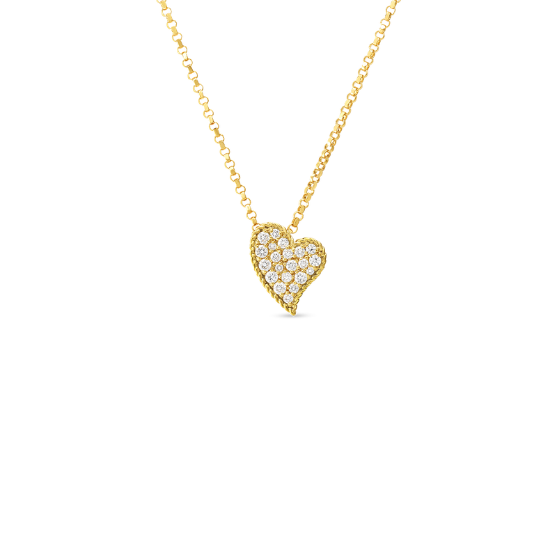 Roberto Coin 18Kt Gold Slanted Heart Pendant With Diamonds