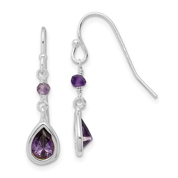 Sterling Silver Purple CZ Dangle Earrings