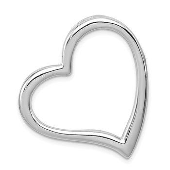 Sterling Silver Rhodium-plated Polished Open Heart Slide