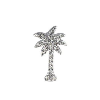 14K White Gold .10 Ct Diamond Palm Tree Pendant