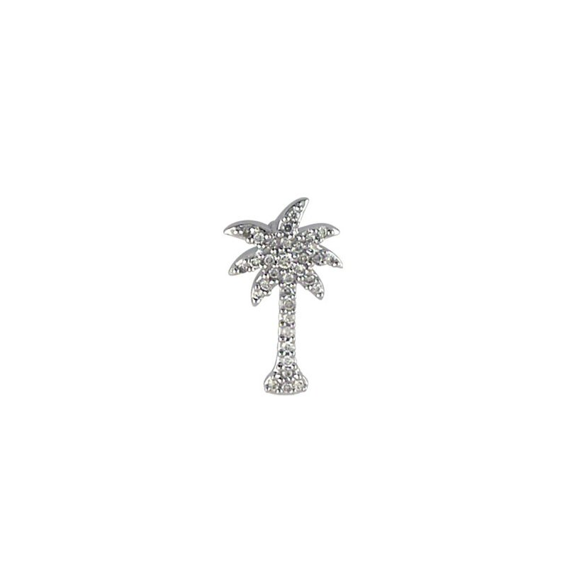 Color Merchants 14K White Gold .10 Ct Diamond Palm Tree Pendant