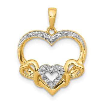 14k .03ct. Diamond Heart w/ Three Smaller Hearts Pendant