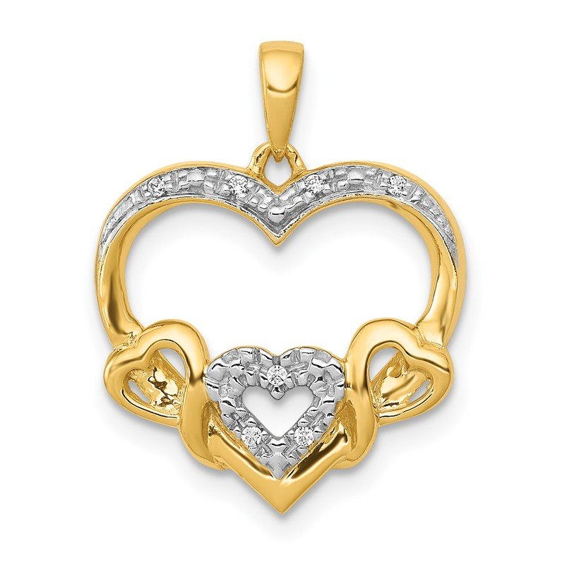 Quality Gold 14k .03ct. Diamond Heart w/ Three Smaller Hearts Pendant