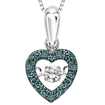 14K Blue & White Diamond Rhythm Of Love Pendant 1/5 ctw