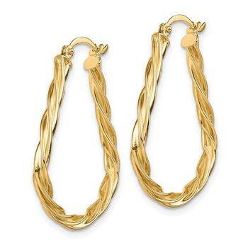14K Polished Twisted Triangular 2.5mm Hoop Earrings