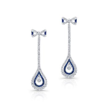Diamond & Sapphire Bow Drop Earrings
