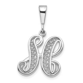 14KW White Gold Solid Polished Script Filigree Letter H Initial Pendant