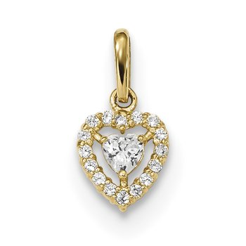 14k Childrens CZ Heart Pendant