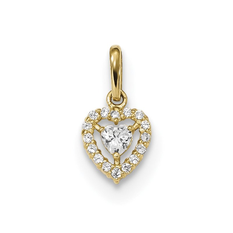 Quality Gold 14k Childrens CZ Heart Pendant
