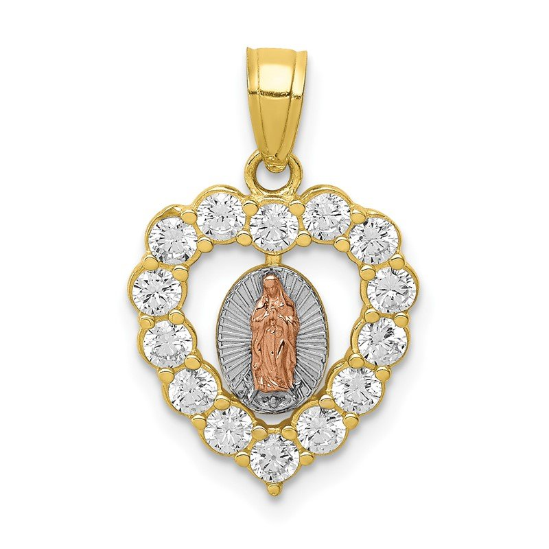 Quality Gold 10K Two-Tone W/White Rhodium CZ Guadalupe Heart Pendant