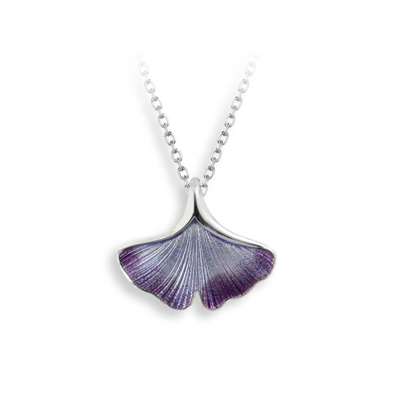 Nicole Barr Designs Purple Ginkgo 1-Leaf Necklace.Sterling Silver