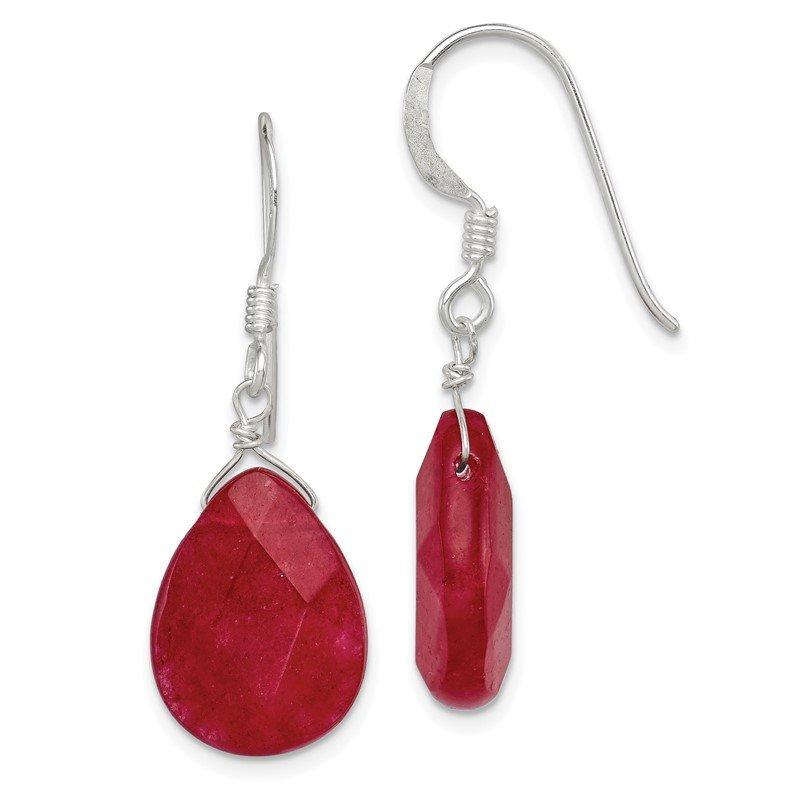 Quality Gold Sterling Silver Red Jade Dangle Earrings