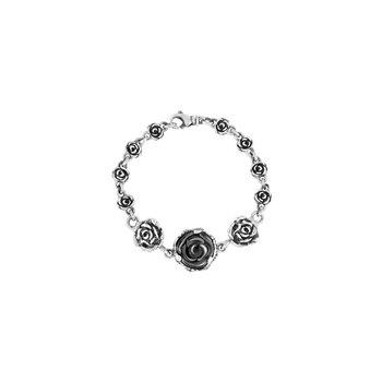 Rose Motif Bracelet With Carved Jet Rose