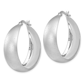 Leslie's SS Rhodium-plated Radiant Essence Hoop Earrings