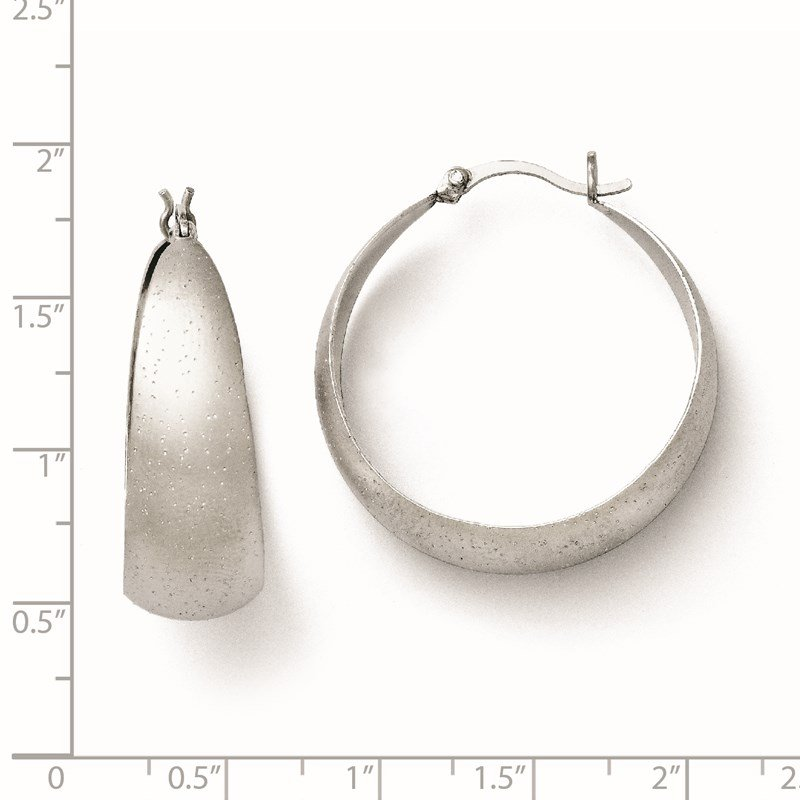 Leslie's Leslie's SS Rhodium-plated Radiant Essence Hoop Earrings
