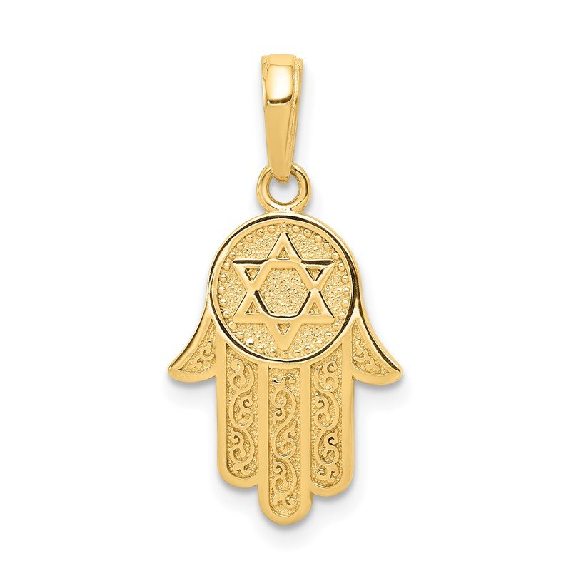 Quality Gold 14k Jewish Hand of God w/Star of David Pendant