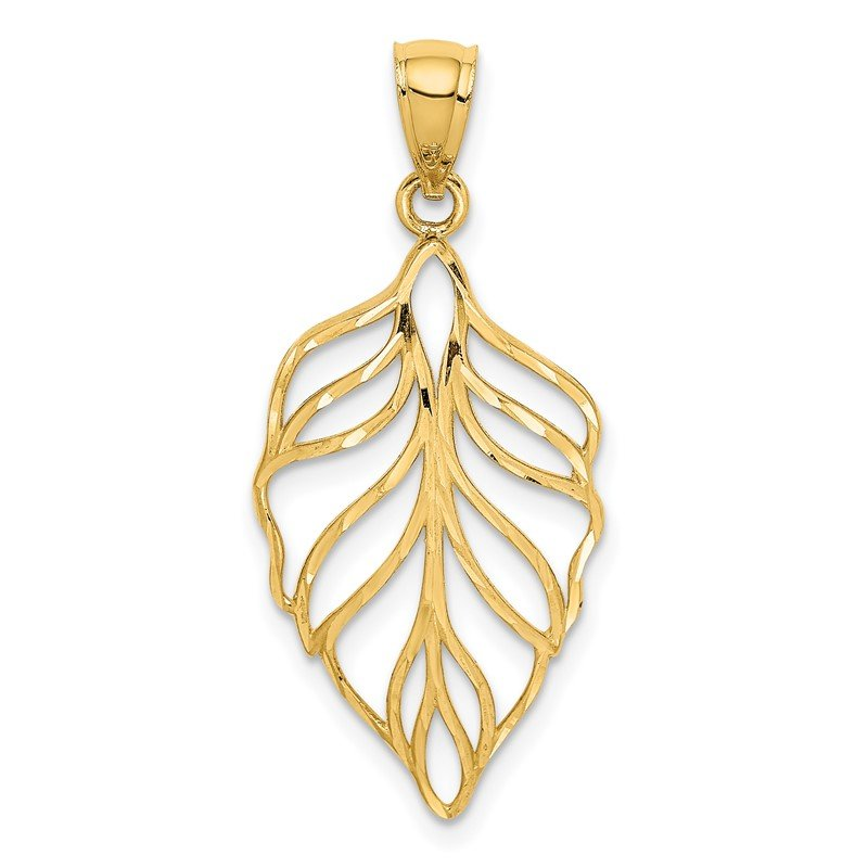 Quality Gold 14K Leaf D/C Dangle Pendant