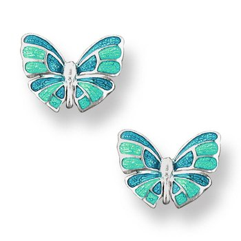 Turquoise Butterfly Stud Earrings.Sterling Silver