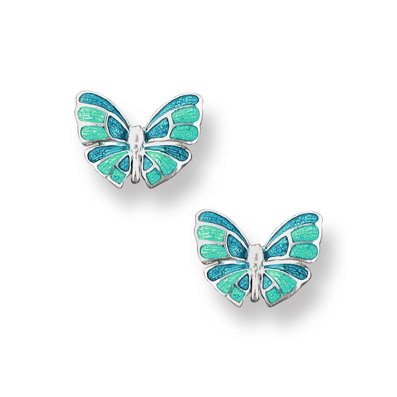 Nicole Barr Designs Turquoise Butterfly Stud Earrings.Sterling Silver