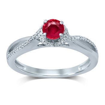 14K  0.10Ct Diamond  Ruby  Ring