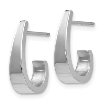 14k White Gold Polished J-Hoop Post Earrings