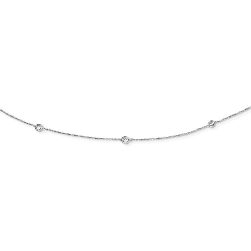Quality Gold Sterling Silver Rhodium-plated CZ 15-Station Necklace