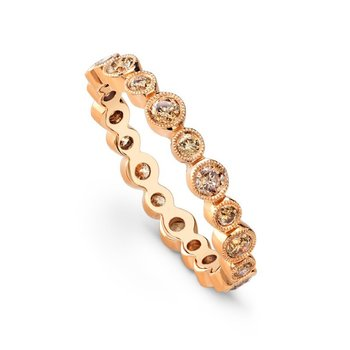 Rose Gold Bezel Cognac Diamond Band