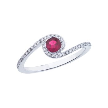 14k White Gold Ruby and .14 ct Diamond Swirl Ring