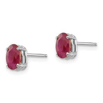 14k White Gold 6x4 Oval July/Ruby Post Earrings