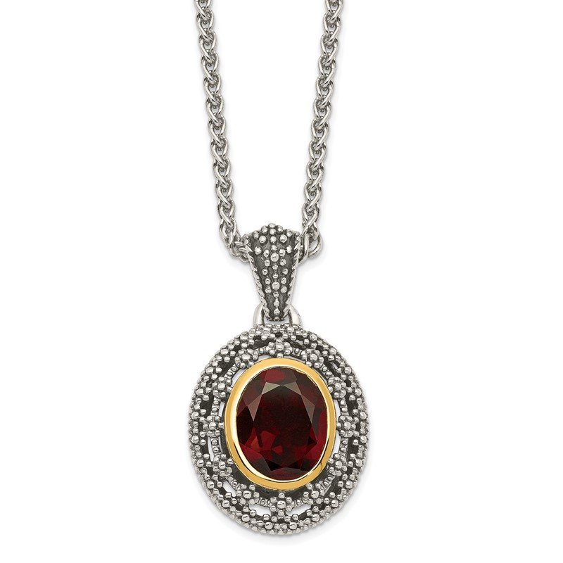 Quality Gold Sterling Silver w/ 14K Accent Garnet Oval Necklace