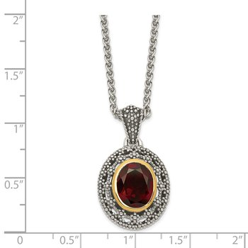 Sterling Silver w/ 14K Accent Garnet Oval Necklace