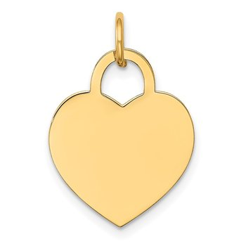 14k Medium Engravable Heart Charm