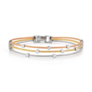 Rose, Yellow, & Grey Cable Triple Strand Bracelet with 18kt White Gold & Diamonds