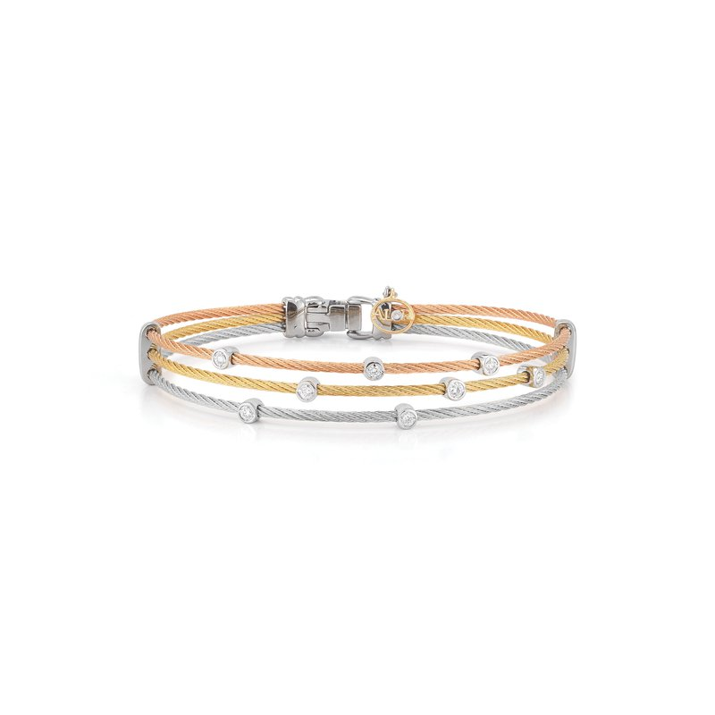 ALOR Rose, Yellow, & Grey Cable Triple Strand Bracelet with 18kt White Gold & Diamonds