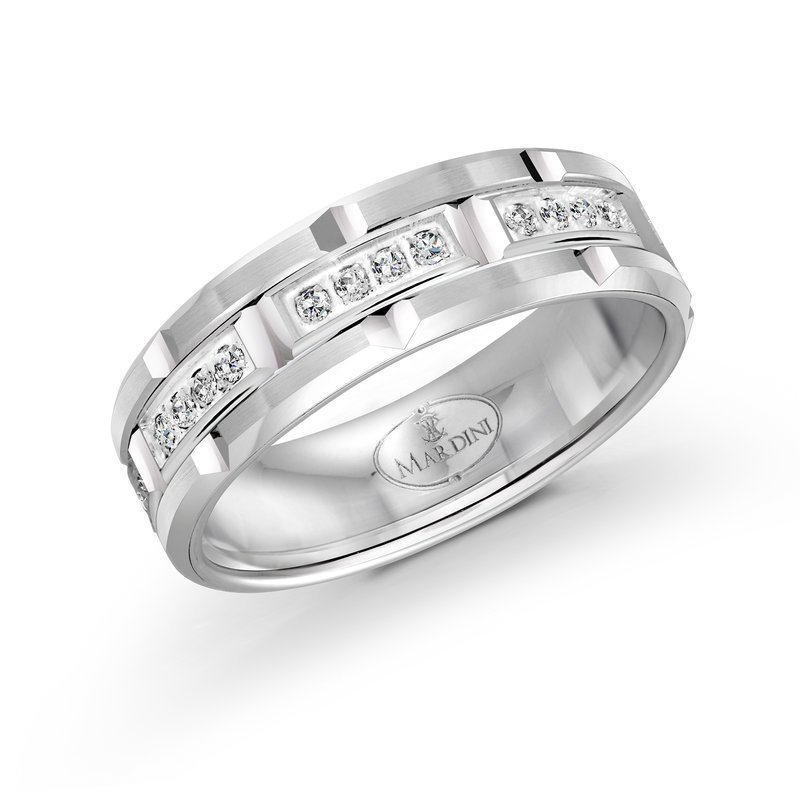Mardini 7mm all white gold brick motif band, embelished with 32X0.01CT diamonds