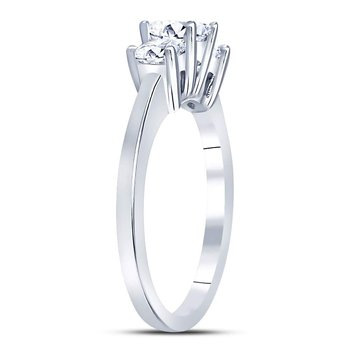 14kt White Gold Womens Princess Diamond 3-stone Bridal Wedding Engagement Ring 1.00 Cttw