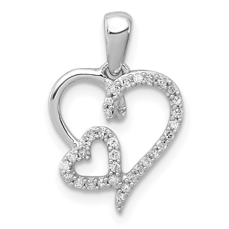 Quality Gold Sterling Silver Rhodium 0.12ct Diam. Double Heart Pendant