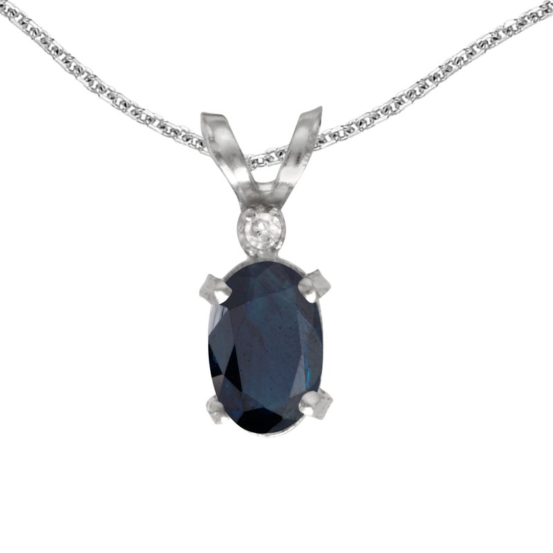 Color Merchants 14k White Gold Oval Sapphire And Diamond Filagree Pendant